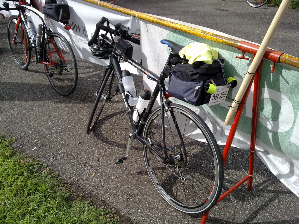 The author's bike fully packed, waiting for the start
